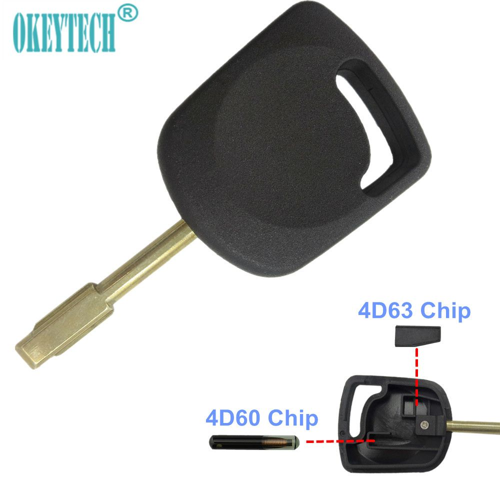 OkeyTech Transponder Key Shell For Ford Focus Mondeo Ka Escort Fiesta Fusion Remote Car Key FO21 Blade 4D60/63 Transponder Chip