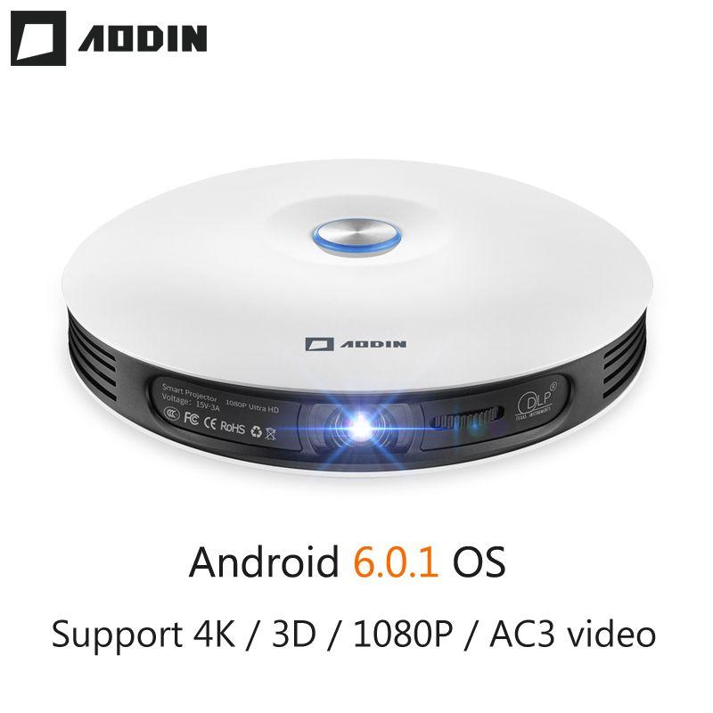 AODIN M18 mini LED Projektor 4 K 3D DLP projektor Tasche Android HDMI Eingang 2G DDR3 Volle HD 1080 P tragbare projektor heimkino