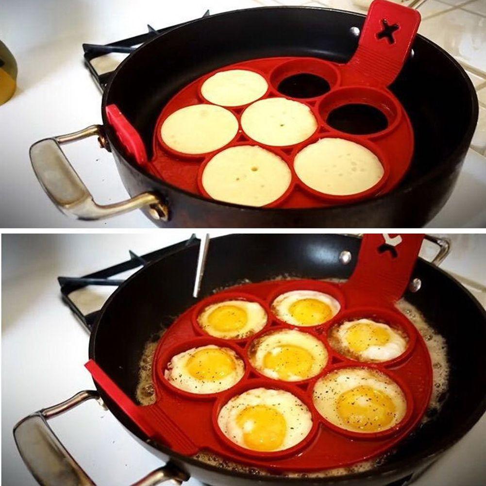 Антипригарной блин Maker Силиконовые яйца кольцо плесень с 7 отверстий Кухня Блин Плесень Инструменты для работы с яйцами Кухня Пособия по кул...