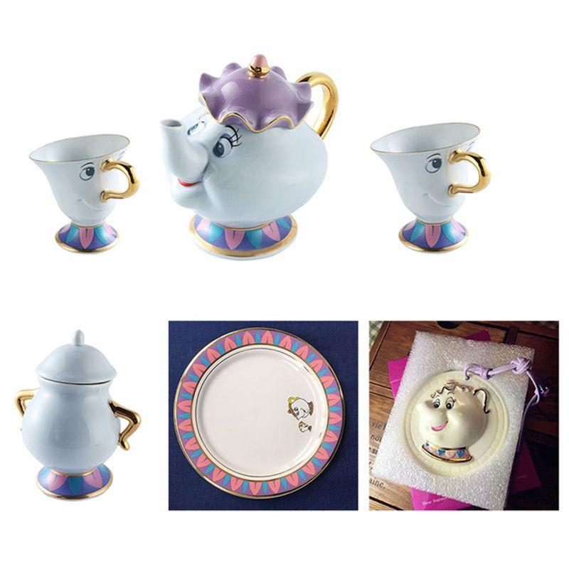 Dessin animé la belle et la bête thé ensemble Mrs Potts théière + puce tasse + sucrier + plaque café lait bouilloire Pot tasse mignon cadeau de noël