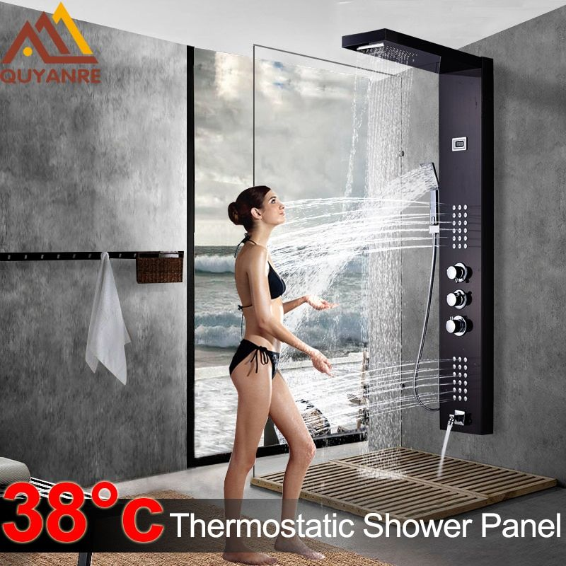 Black Thermostatic Digital Shower Panel Faucets Column Rain Waterfall Shower Massage SPA Jets Three Handle Mixer Tap Bath Shower