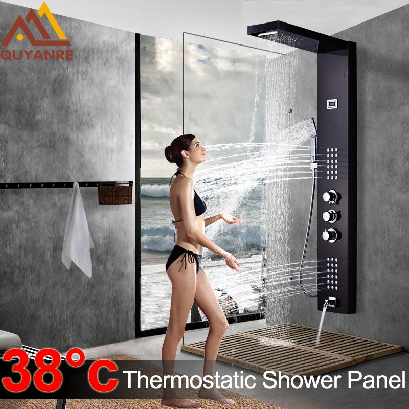 Schwarz Thermo Digitale Dusche Panel Armaturen Spalte Regen Wasserfall Dusche Massage SPA Jets Drei Griff Mischbatterie Bad Dusche