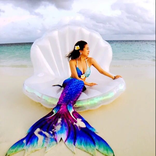New Adults Giant Pool Float Shell Pearl Scallops Inflatable Funny Aquatic Toys Air Mattress Swim Life Buoy For Bikini 1.7*1.3M