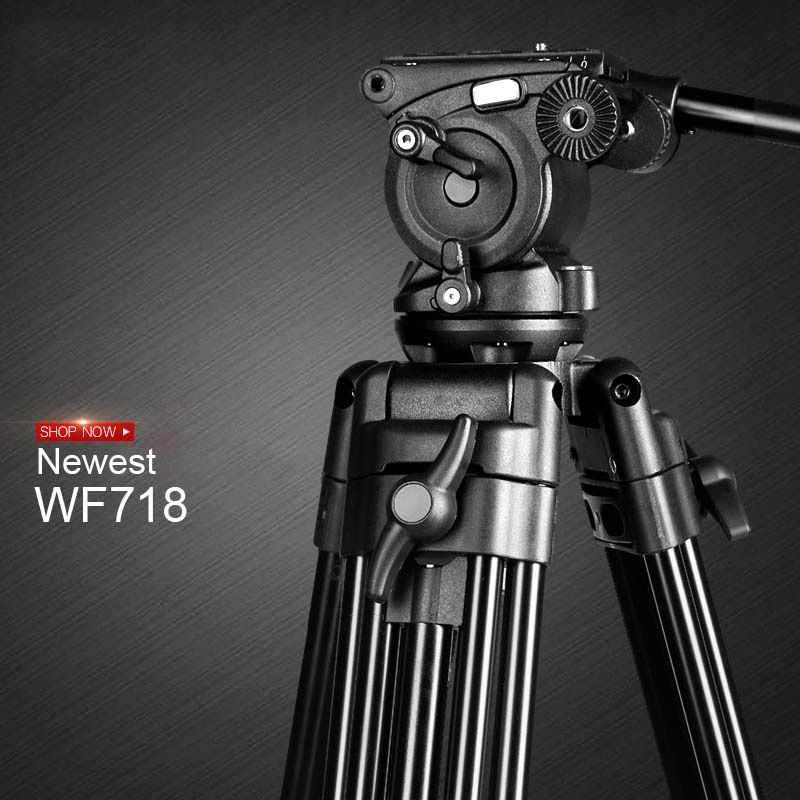 New WF718 Professional Video Tripod DSLR Camera Heavy Duty Tripod with Fluid Pan Head for Canon Nikon Sony Camera Camcorder DV