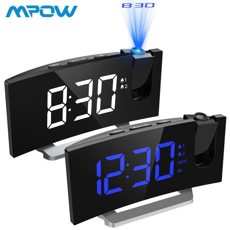 MPOW LED FM Projektion 2 Alarme Uhr Multifunktionale 5-zoll Gebogene Bildschirm 5 Ebenen Display Helligkeit 4 Einstellbare Alarm sounds