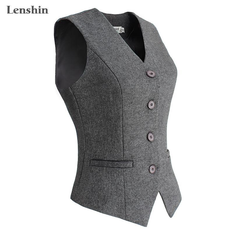 Lenshin Women Elegant OL Waistcoat Vest Gilet V-Neck Business Career Ladies Tops office Formal Work Wear Outerwear