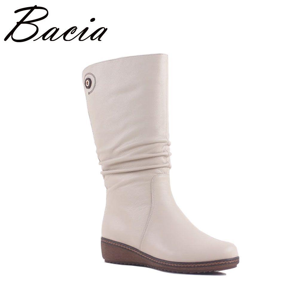 Bacia Weiß Elegante Stiefel Aus Echtem Leder Frauen Schuhe Keil Niedrige Ferse Mitte Wade Stiefel Schnee Frauen Motorrad Stiefel Größe 36 -40 MA006