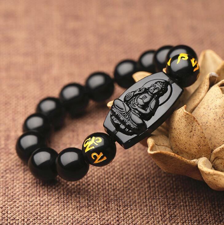 10mm Haute Qualité Naturel Noir Obsidienne Sculpté Bouddha Amulette Chanceux Rond Perles Bracelet Pour Les Femmes Hommes Bracelet Jad e bijoux