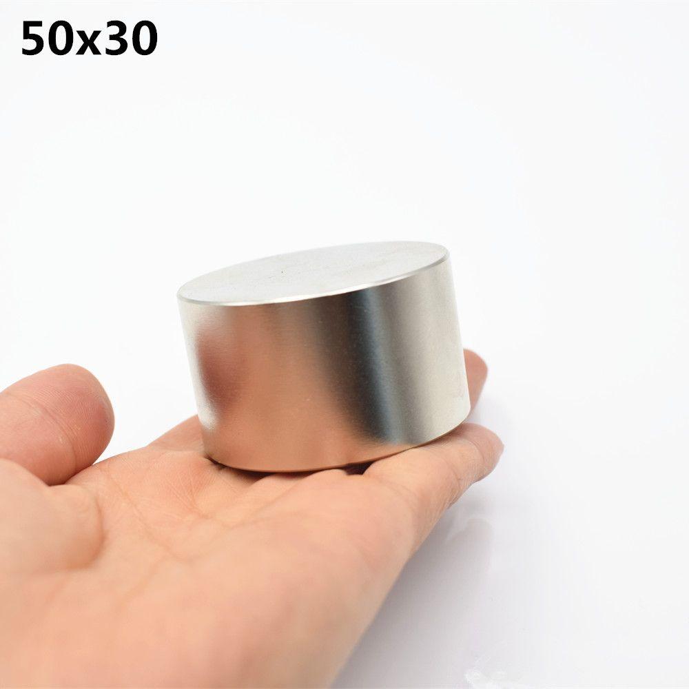 1 pièces néodyme aimant 50x30mm super forte ronde terre Rare NdFeb plus fort permanent puissant magnétique D50 * 30mm chaud nouveau Nickel