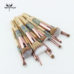 Anmor New Makeup Brushes 12 Pcs Set Bambu Make Up Sikat Sintetis Lembut Koleksi Bubuk Kontur Perona Alis Cleaner Kit