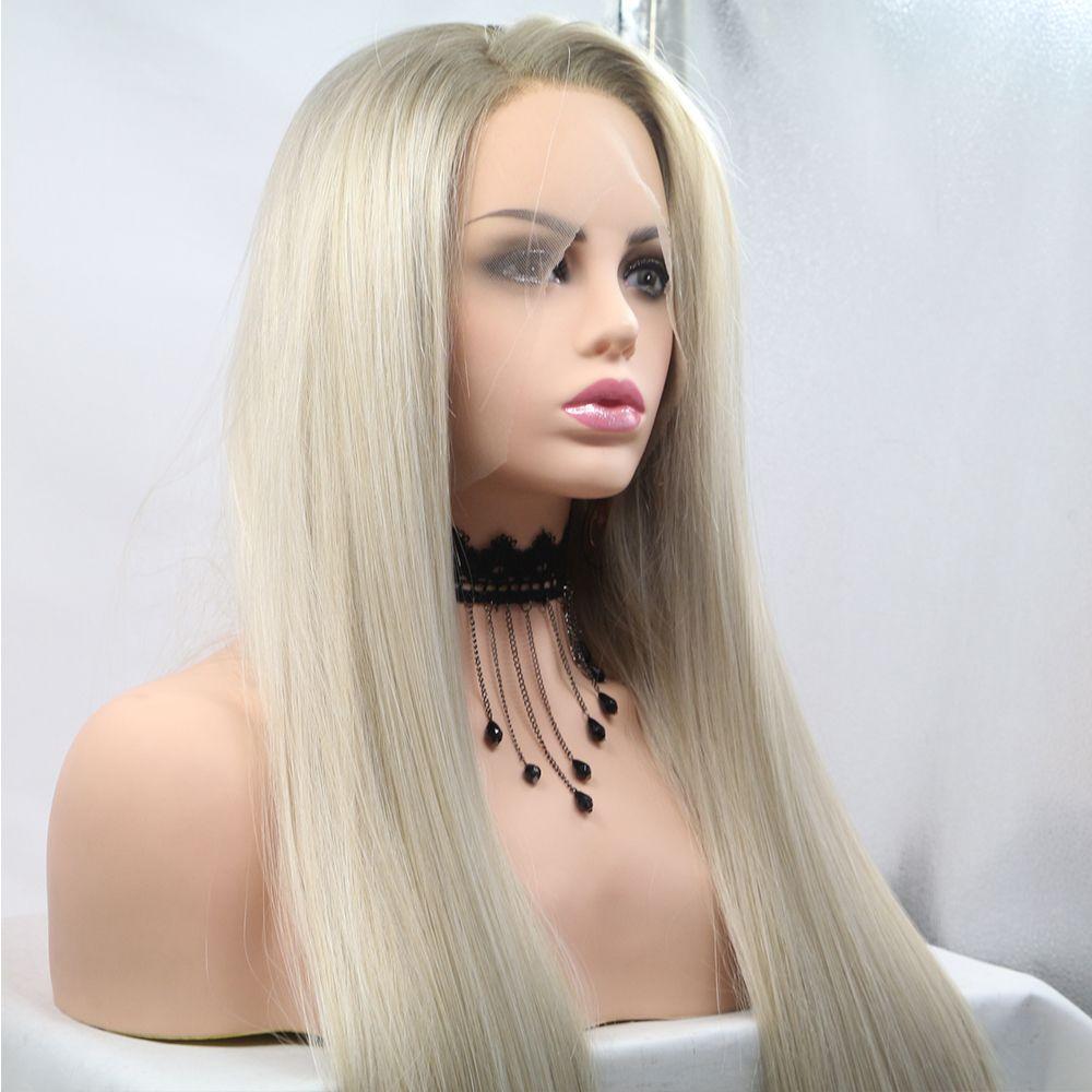 Fantaisie beauté femmes sans colle Blonde Ombre dentelle avant perruques synthétiques, réaliste à la recherche côté partie longue droite foncé racines