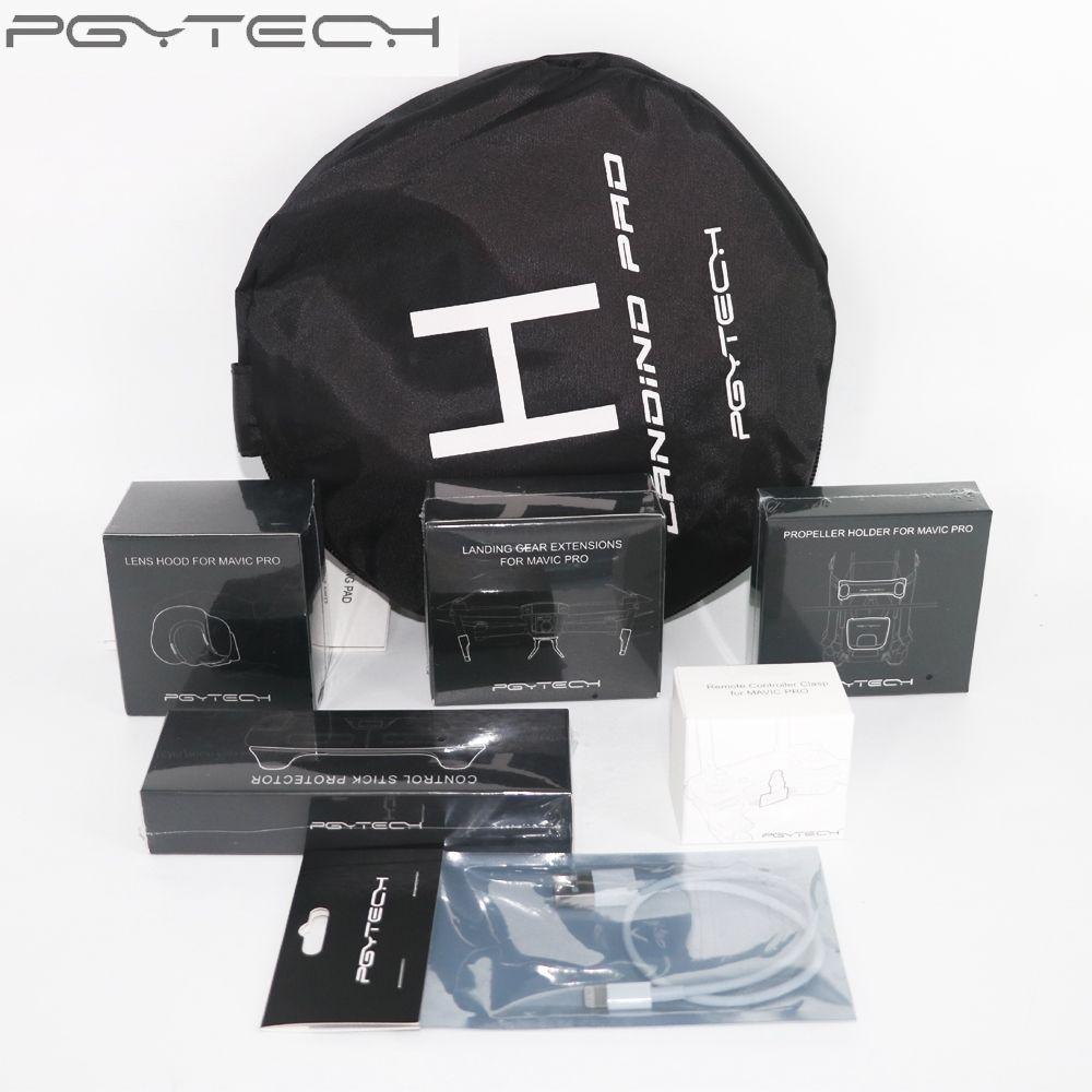 PGYTECH 7pcs Accessories Combo Landing Pad/Lens Hood/Propeller Holder/Landing Gear Extension/Stick Protective for Dji Mavic Pro