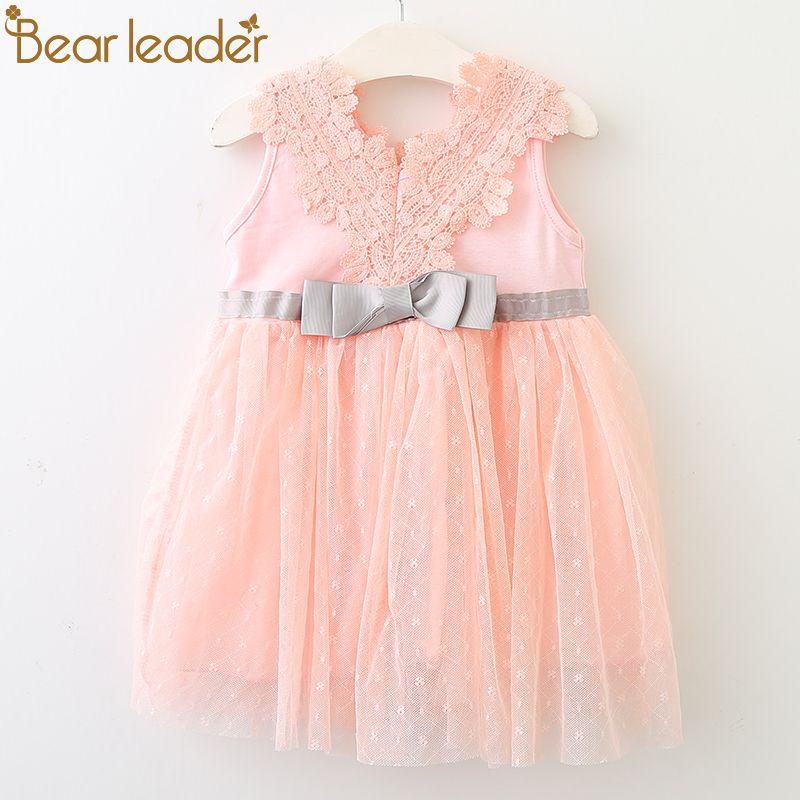 Bear Leader платье для малышей 2018 новый летний богемный Стиль Шнуровка с бантиком лоскутное платье-пачка для От 0 до 2 лет Детские платье для вечер...