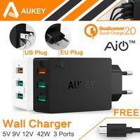 AUKEY оригинальный Quick Charge 2,0 USB настенное зарядное устройство 3 порты и разъёмы Smart Fast Turbo мобильный зарядное устройство для samsung Galaxy s6 Edge Xiaomi EU/US