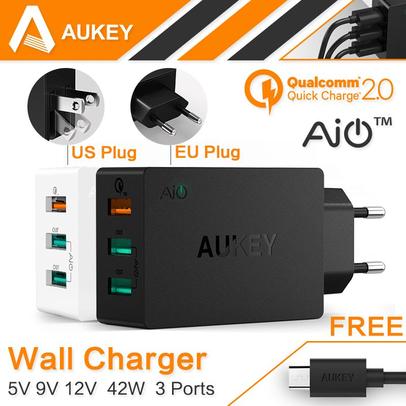 AUKEY Original Quick Charge 2.0 USB Wall Charger 3 <font><b>Port</b></font> Smart Fast Turbo Mobile Charger For Samsung Galaxy s6 Edge Xiaomi EU/US