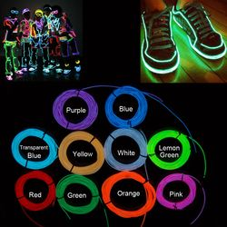 1m/2m/3m Flexible Neon Light Car Lights Dance Party Decor Lighting EL Wire LED Strip Light Tube Battery Glowing With Controller