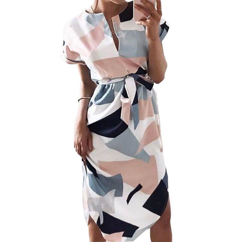 Women Boho Print Dresses New 2018 Summer V-neck Short Sleeve Sundress Straight Party Dress Sexy Robe <font><b>Femininos</b></font> GV704
