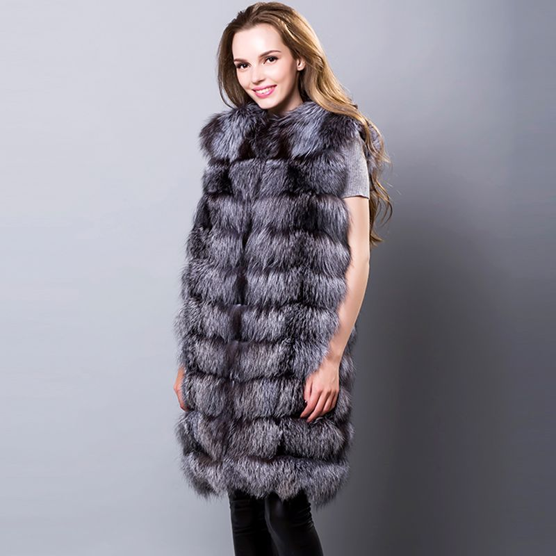 Real Silver Fox Fur Vests Sleeveless Covered Button Winter Red Fox Fur Coats Fur Coats Long Women's Vest Natural Silver Fox Fur