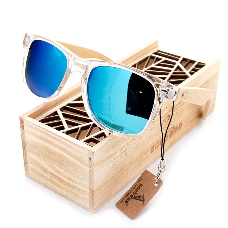 BOBO OISEAU Clair Couleur Bois Bambou Bambou de lunettes de Soleil Femmes lunettes de Soleil Polarisées Avec UV 400 Protection
