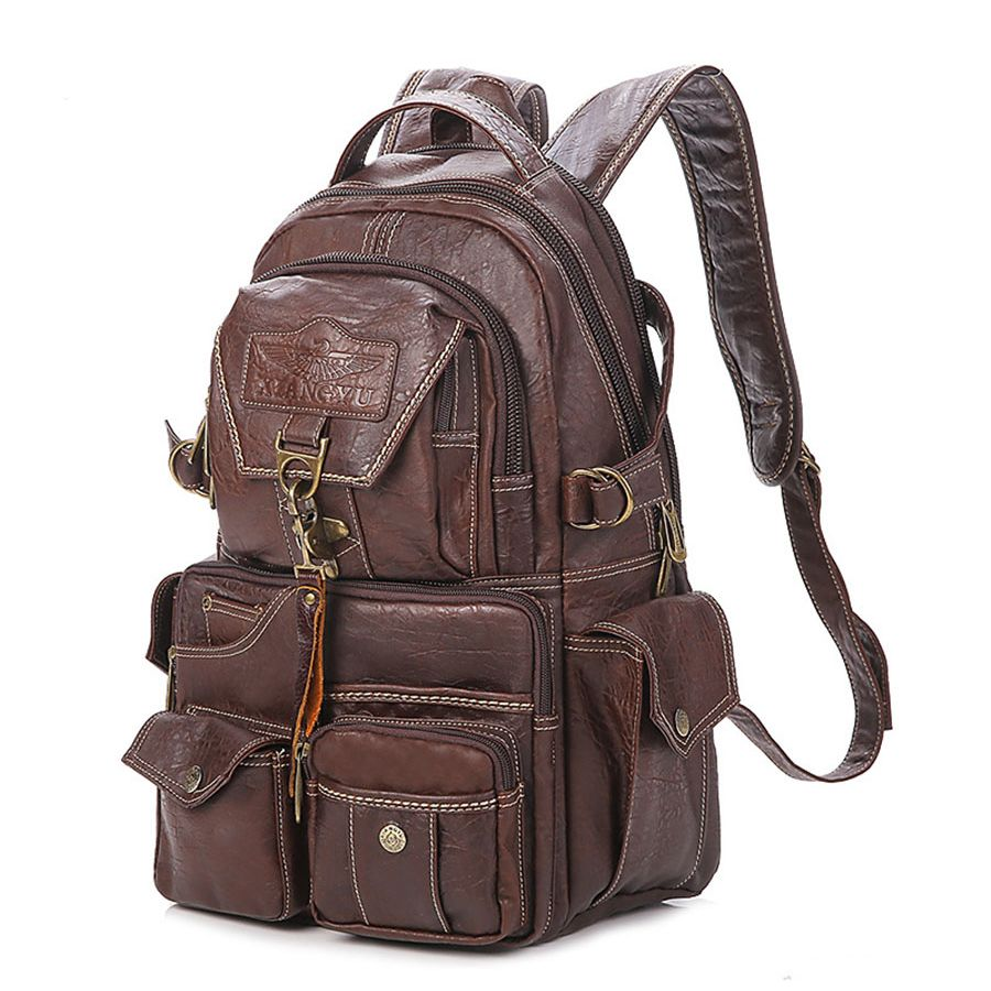 2019 The New Large Capacity PVC Material College <font><b>Vintage</b></font> Shoulder Women's Backpack Students Travel Computer Leather Bag Mochilas