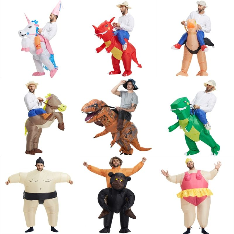Carnaval unisexe dinosaure Cowboy Costumes gonflables drôle fête robe Animal Cosplay Halloween pourim pour adulte et enfants