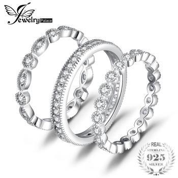 2.15ct JewelryPalace Moda Cubic Zirconia 3 Banda Eternidade Anéis Para Mulheres Anel de Prata Pura 925 Newes Moda Jóias