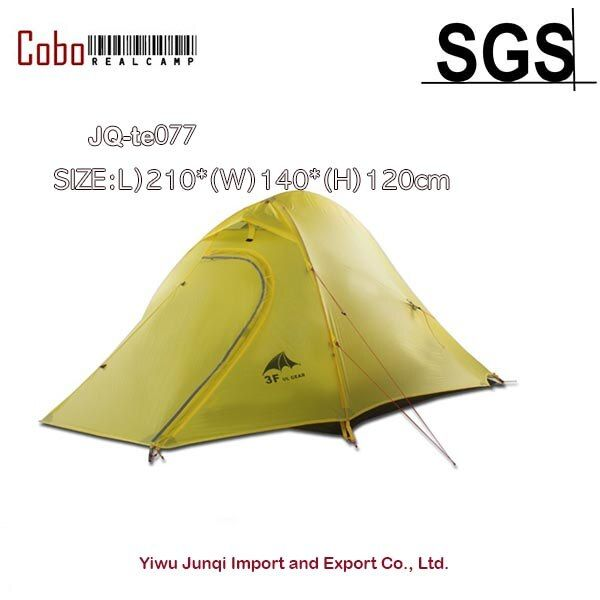 Two Person Ultralight Hiking Tent 15d Silicone Fabric Double-Layer Camping Tent Light Weight Tent