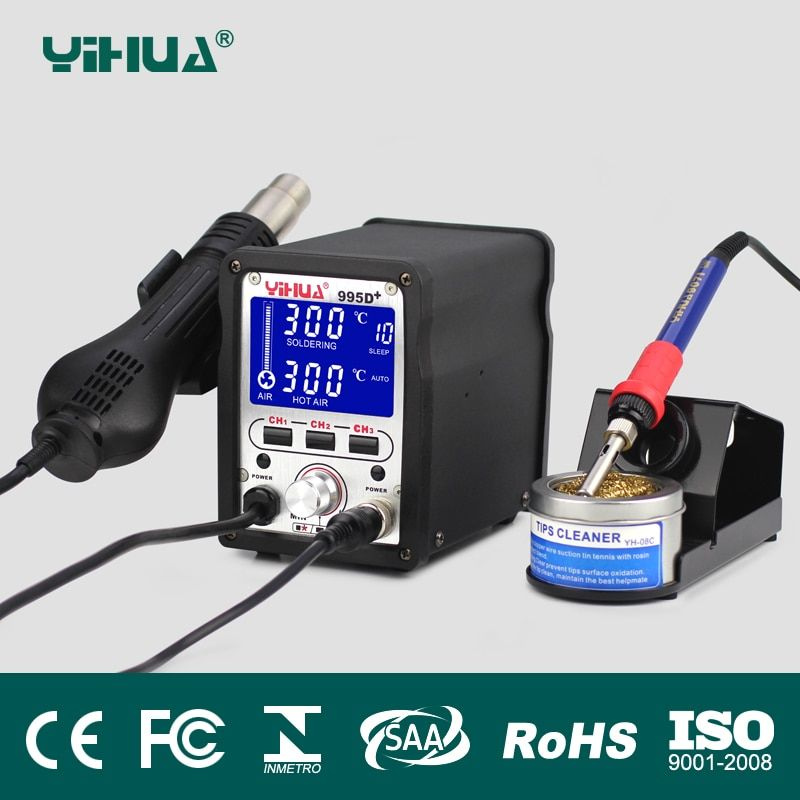 YIHUA Soldering Station 995D+2IN1 Hot Air Gun Rework Solder Soldering Station Heat Gun Electric iron Station Welder Hot Air