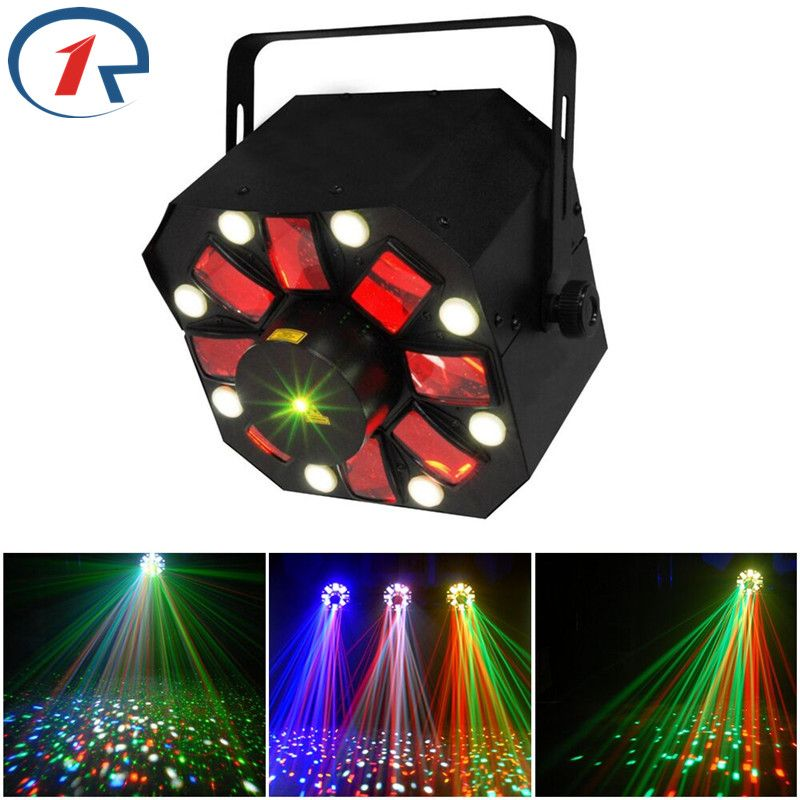 ZjRight 3 in 1 Laser/Strobe/Rotating Derby effect stage lighting Moonflower RG Laser Light 8 LED Strobe for dj bar disco concert