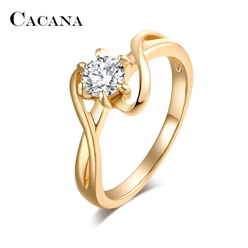 CACANA Cubic Zirconia Rings For Women Surround S Type Trendy Zinc Alloy Rings Jewelry Bijouterie Wholesale NO.R515
