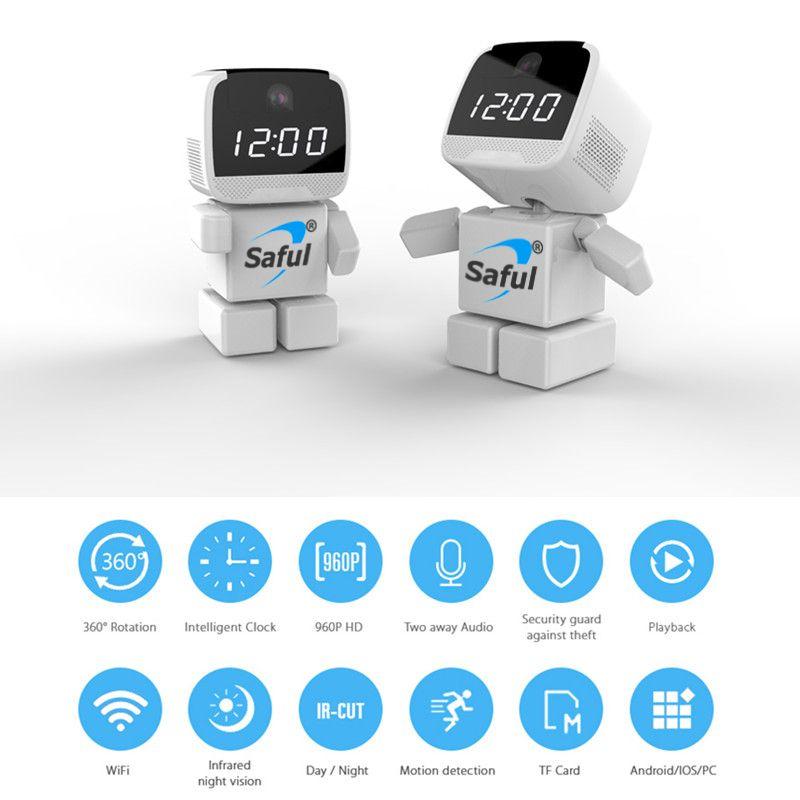 Saful WIFI Ip-kamera 960 P Roboter Wireless Baby Monitor 1.3MP Wireless Home Smart Kontrollausrüs Nachtsicht Fernbedienung