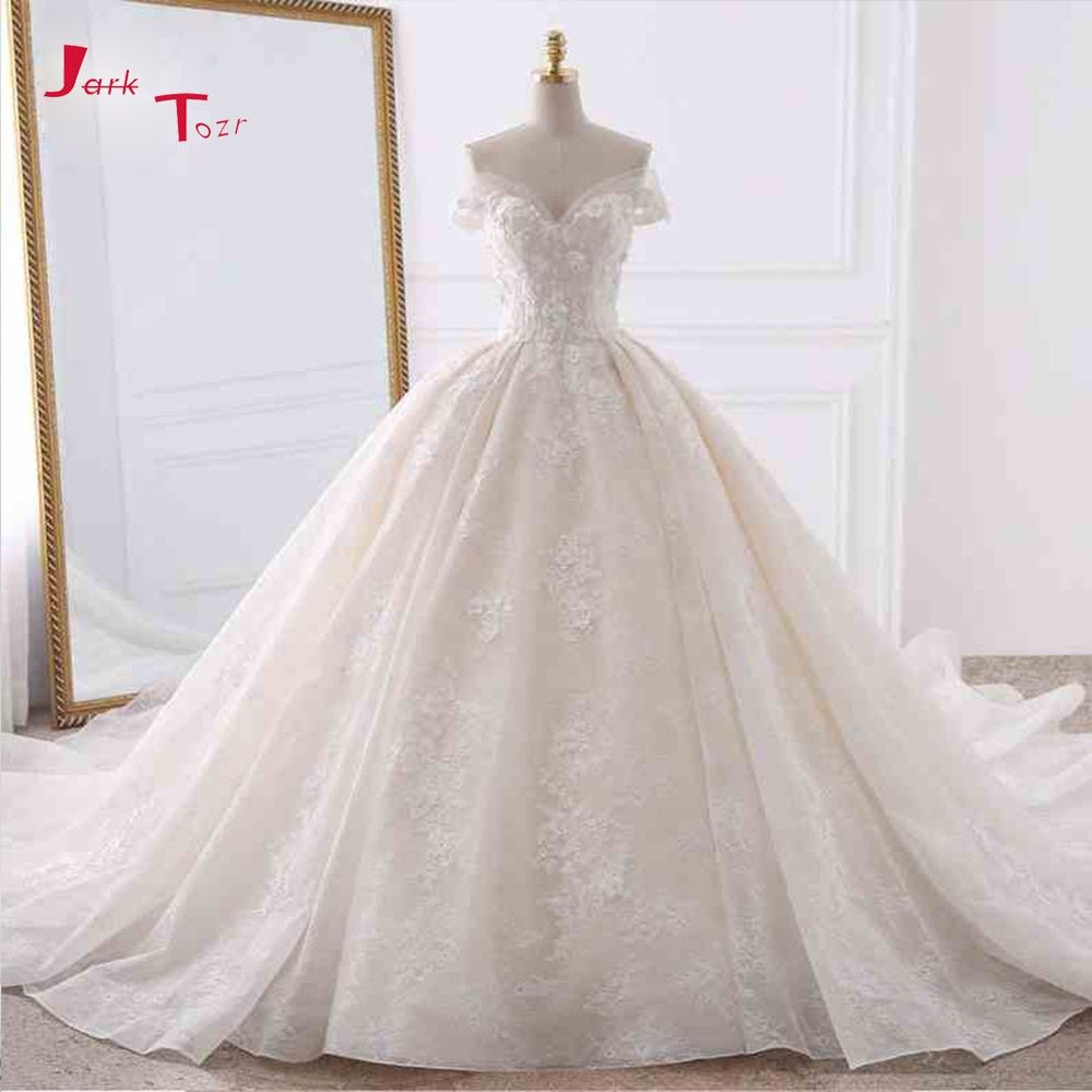Jark Tozr Customize Short Sleeve Pearls Lace Appliques Flowers Floral Princess Wedding Dress With Chapel Train 6-Ring Petticoat