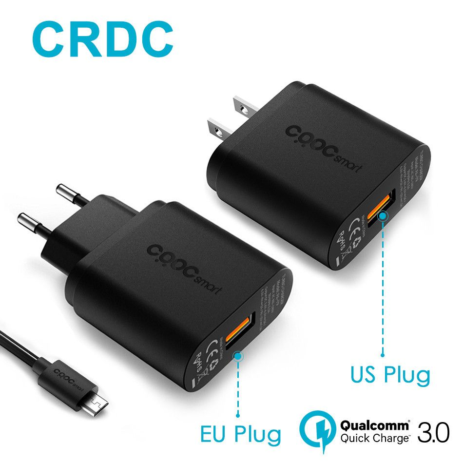 CRDC Phone Charger Quick Charge 3.0 18W Fast USB Charger (QC 2.0 Compatible) for iPhone Samsung Galaxy s8 Xiaomi mi5 Huawei LG