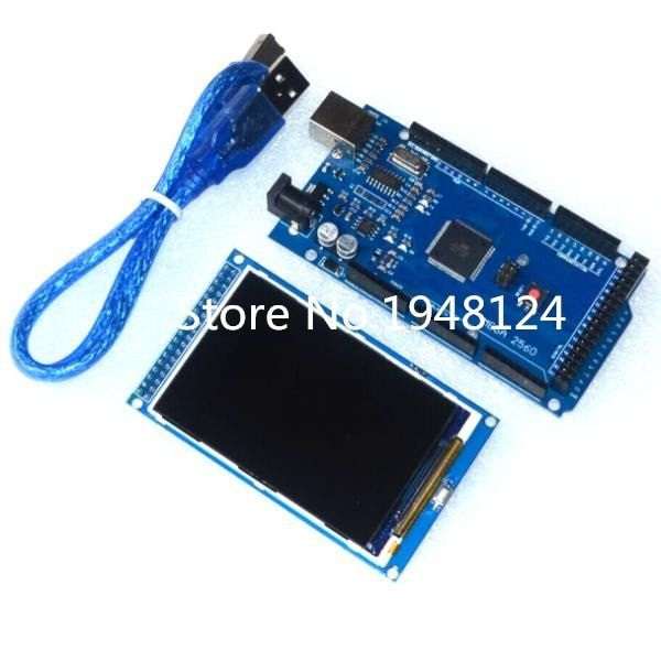 Free shipping! 3.5 inch TFT LCD screen module <font><b>Ultra</b></font> HD 320X480 for Arduino + MEGA 2560 R3 Board with usb cable