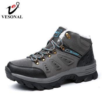VESONAL бренд На зимнем меху теплые зимние сапоги для мужские кроссовки 9908 мужской обуви для взрослых Нескользящие резиновые Повседневное Раб...
