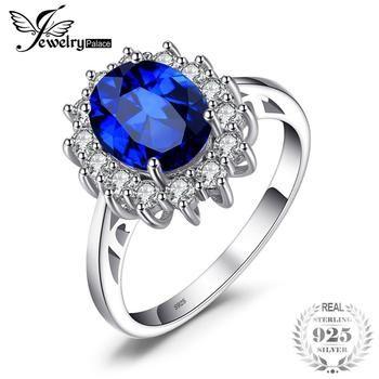JewelryPalace Princesa Diana William Kate Middleton 3.2ct Criado Blue Sapphire Engagement 925 Anel de Prata Esterlina Para Mulheres