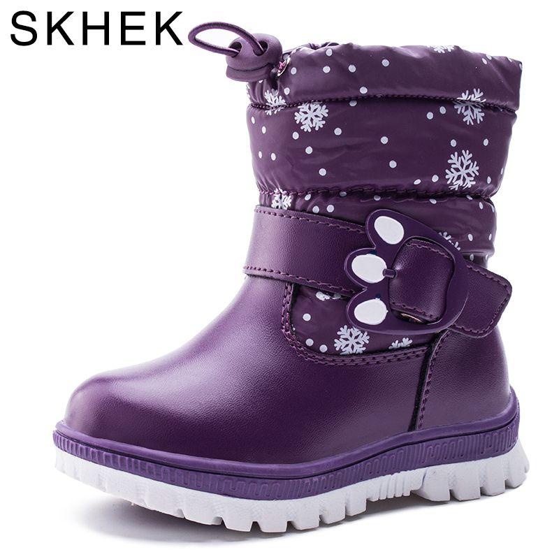 SKHEK Winter <font><b>Children</b></font> Ankle Plush Boots For Girls Flat With Rubber Snow Boots Boys Waterproof Non-slip Shoes 1612