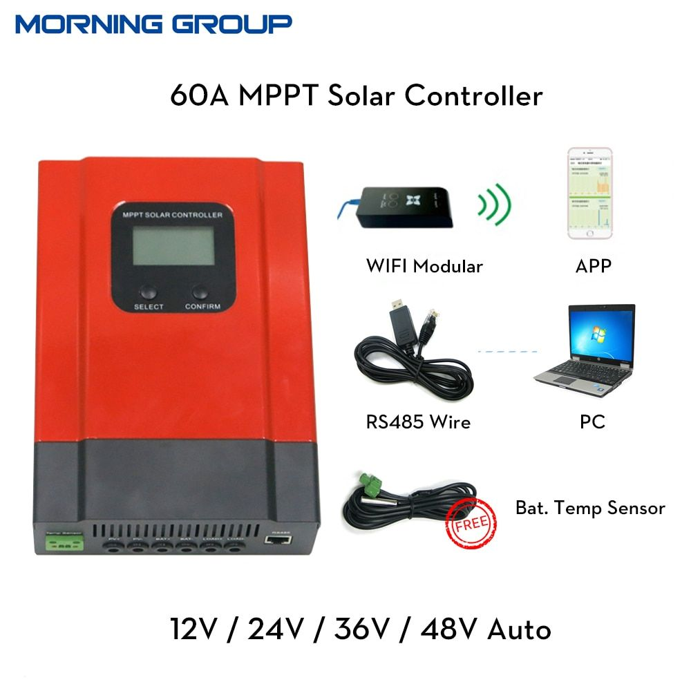 eSmart3 60A MPPT Solar Charge Controller 12V 24V 36V 48V Auto LCD Display with RS485 communication PC software WIFI mobile APP