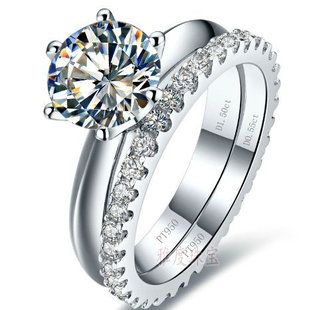 White Gold color 0.6-3carat sona Simulated Gem wedding ring sets for women,925 silver ring color sets, promise ring set