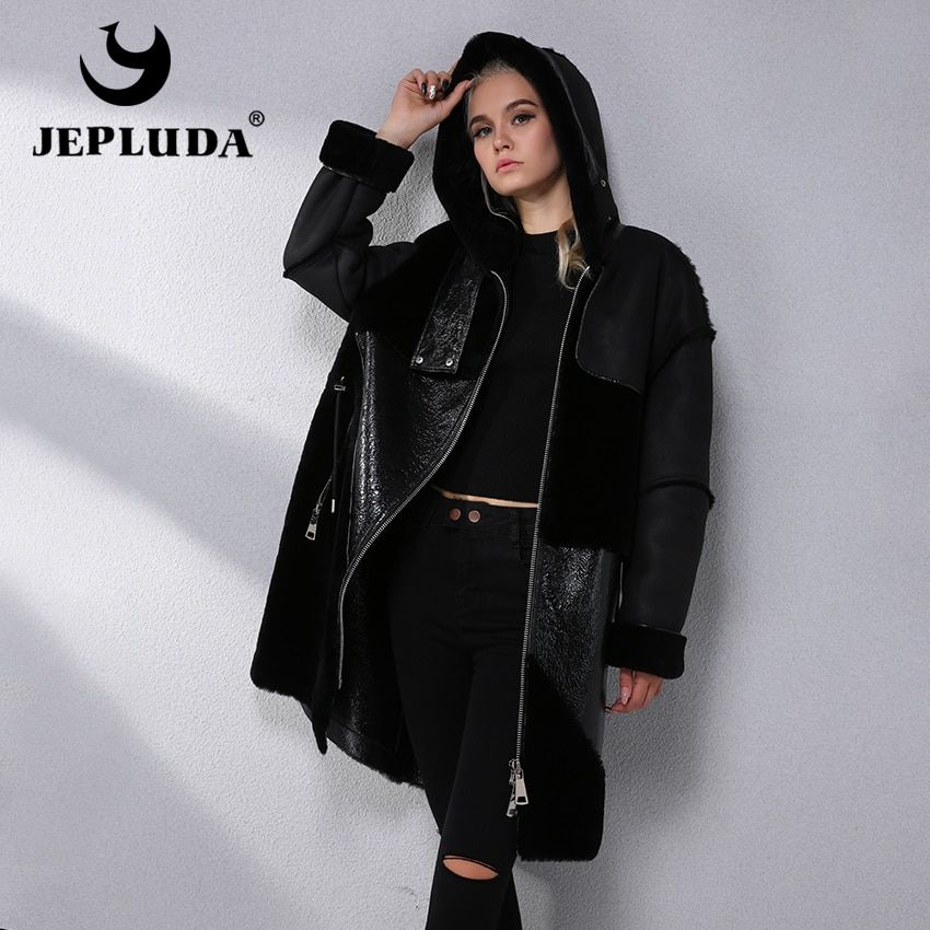 JEPLUDA Australian Natural Sheep Fur Coat Large Zipper Hood Leather Jacket Latest Model Winter Real Fur Coat Women Fur Jacket