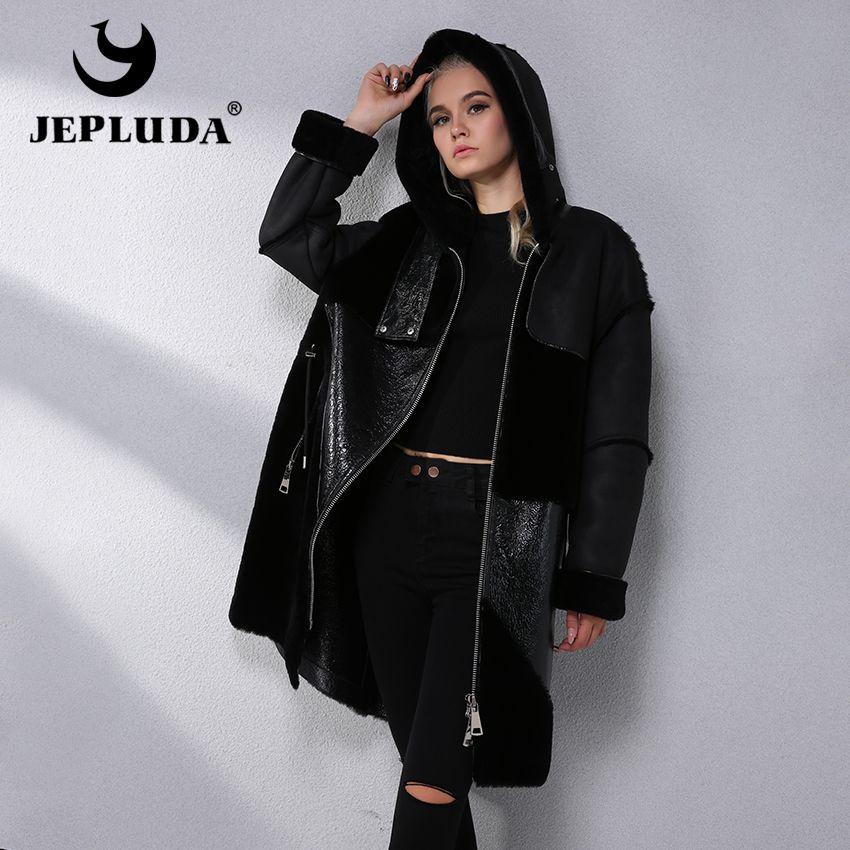 JEPLUDA Australian Natural Sheep Fur Coat Large Zipper Hood Leather Jacket Latest Model Winter Real Fur Coat Women Fur Jacket