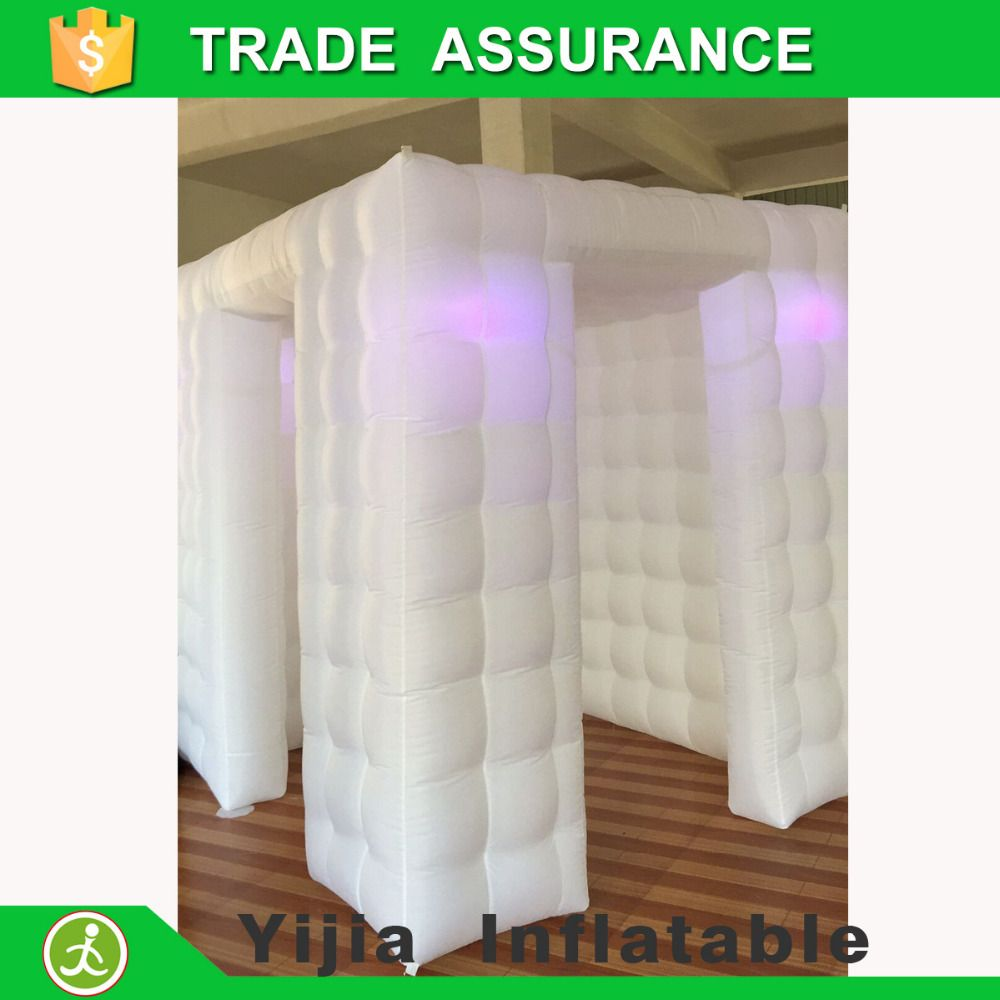 New hot white photobooth rentals inflatable led photo booth for party