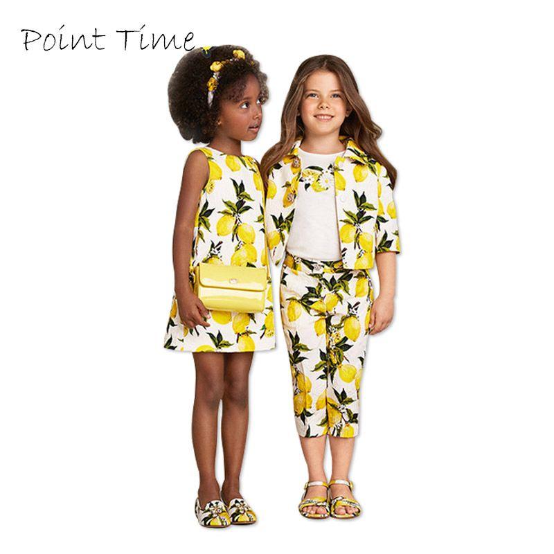 Filles jaunes Robe d'été vêtements enfants robes pour filles enfants Robe Fille coton citron imprimé princesse Robe Fille
