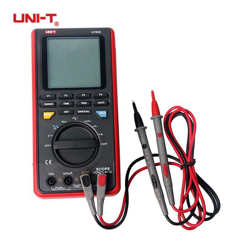 UNI-T UT81B USB Scope Digital Multimeter Meter LCD Oscilloscope Diode Handheld Auto Range Input Sensitivity Test Lead Clips