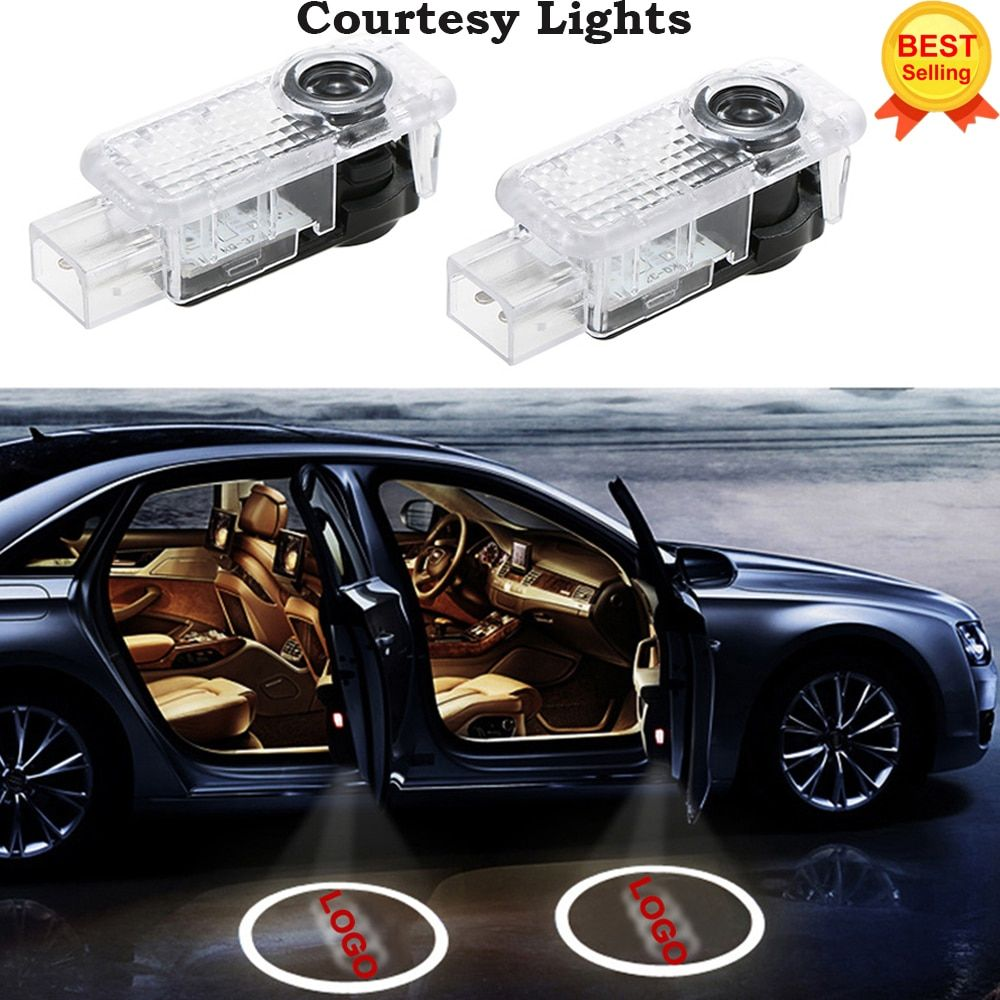2x For AUDI Car Door LED CIRCLE Ghost Shadow Light Audi Logo Projector Courtesy Lights Auto Backlight Car Styling Welcome Light