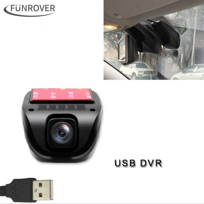 2017 New Dash Camera Funrover <font><b>Dashcam</b></font> Front Camera Usb Dvr Android Dvd Player Usb2.0 Digital Video Recorder For Android5.1 6.0