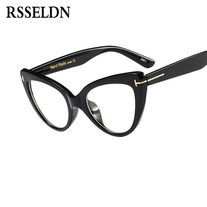 RSSELDN New 2017 Fashion Cat Eye Glasses Frames Brand Design Vintage Cat Eye Eyeglasses Frame Women Clear Black Leopard D3079