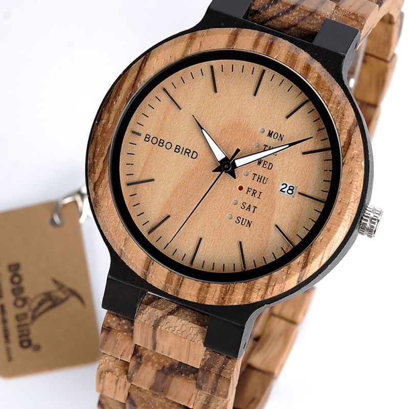 BOBO BIRD Wooden Men Quarzt Wristwatch Show Date and Week Watches in Gifts Wood Box <font><b>Saat</b></font> erkek relojes Drop Ship