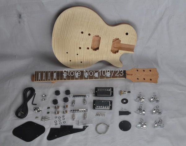 DIY LP Guitars Mahogany Body Unfinished Electric Guitar Kit With Flamed Maple Top Dual Humbuckers