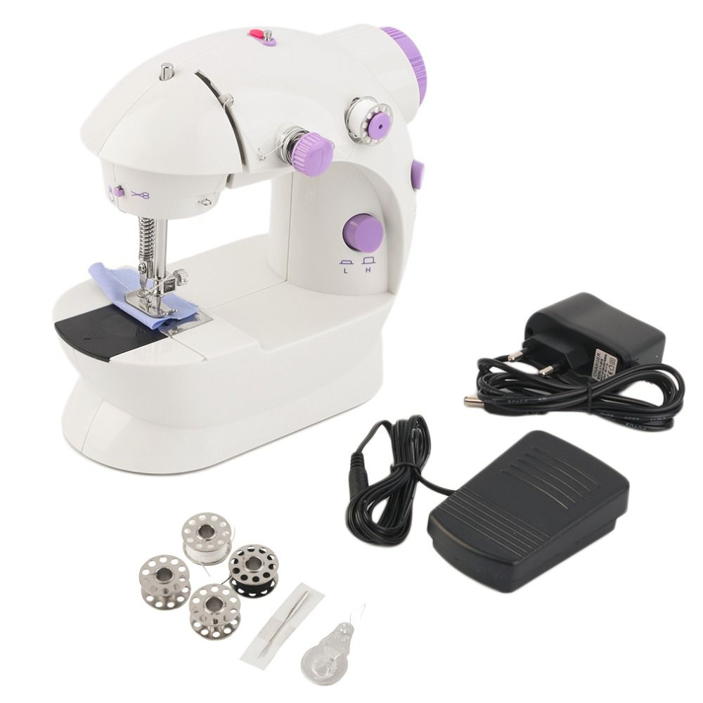 Multifunction Mini Handheld Sewing Machines Dual Speed Double Thread EU Electric Automatic Tread Rewind Reverse Sewing With LED